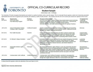 Sample of Co-Curricular Record